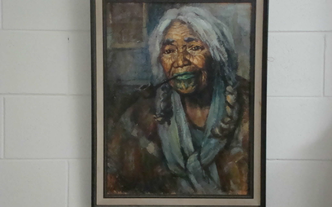 Ida Carey Maori Woman – Striped Shawl