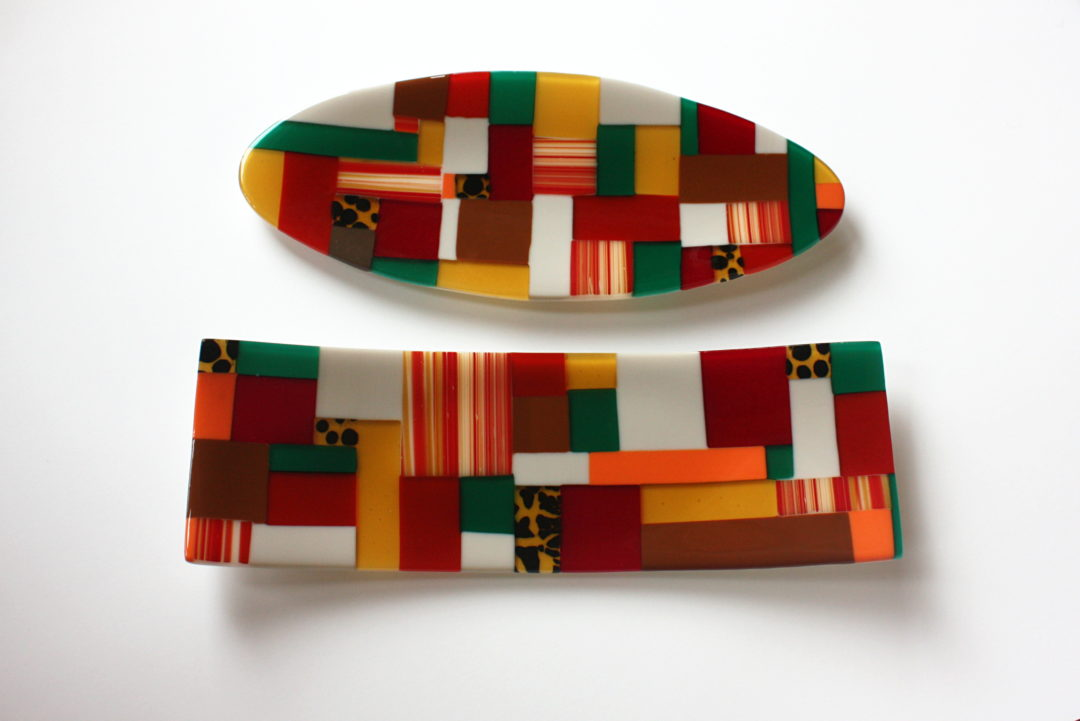 Jayne Baume – African coloured rectangle and oval patchwork plate