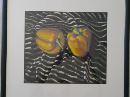 Lynne Sinclair Taylor – Yellow peppers on striped tablecloth